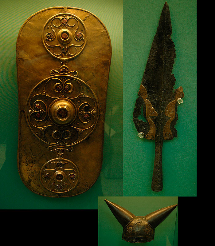 La Tene period artifacts on display at the British Museum. A votive shield from a river offering, a spear head from Lyn Cerrig Bach, and a horned helmet. *Click on the picture to view link*